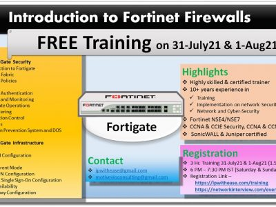 Fortinet Training – 31July21 to 1Aug21